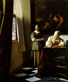 Vermeer, Lady writing a letter with her maid, tratto da www.ibiblio.org